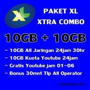 10GB+10GB Youtube(free 01-06)+Telp 30mnt 30Hari