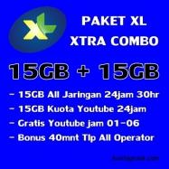 15GB+15GB Youtube(free 01-06)+Telp 40m 30Hari