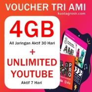 Voucher 4GB 30hr + Unlimited Youtube 7hr